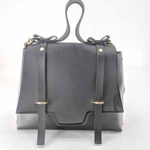 Black vegan leather crossbody bag